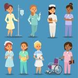 Διανυσματικοί άνθρωποι νοσοκομείων συνεδρίασης των κοριτσιών νοσοκόμων γιατρών γυναικών κινούμενων σχεδίων Θηλυκός ομοιόμορφος χα ελεύθερη απεικόνιση δικαιώματος