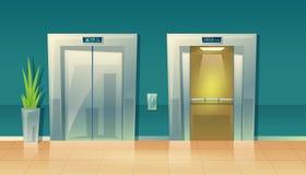 Διανυσματικοί ανελκυστήρες διαδρόμων κινούμενων σχεδίων κενοί - κλειστοί και ανοικτοί ελεύθερη απεικόνιση δικαιώματος