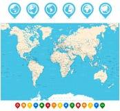 Διανυσματικοί απεικόνιση παγκόσμιων χαρτών και δείκτες χαρτών Στοκ Εικόνες