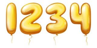 Διανυσματικοί αριθμοί μπαλονιών - ένα, δύο, τρία, τέσσερα Στοκ Εικόνες