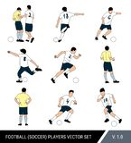 Διανυσματικοί αριθμοί ποδοσφαιριστών για απομονωμένο το λευκό υπόβαθρο Διαιτητής και ποδοσφαιριστές με τη σφαίρα Διαφορετικός θέτ διανυσματική απεικόνιση