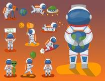 Διανυσματικοί αστροναύτες στο διαστημικό, λειτουργώντας χαρακτήρα και την κατοχή spaceman διασκέδασης του ταξιδιωτικού ατόμου φαν Στοκ Εικόνες