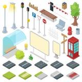 Διανυσματικοί δρόμοι πόλεων οδών με την απεικόνιση φωτεινού σηματοδότη και στάσεων λεωφορείου του isometric πάρκου με τον πάγκο κ απεικόνιση αποθεμάτων