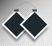 Διανυσματικοί δύο συνδετήρες πλαισίων και συνδέσμων, το νήμα τεντώνονται με ένα καρφί, σε ένα υπόβαθρο Στοκ Φωτογραφίες