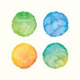 Διανυσματικοί λεκέδες watercolor, συρμένα χέρι doodle στοιχεία Χρωματισμένοι χέρι κύκλοι καθορισμένοι Στοκ εικόνα με δικαίωμα ελεύθερης χρήσης