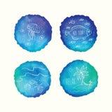 Διανυσματικοί λεκέδες watercolor, συρμένα χέρι doodle στοιχεία Χρωματισμένοι χέρι κύκλοι καθορισμένοι Στοκ Εικόνα