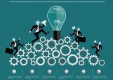 Διανυσματικοί επιχειρηματίες στην πορεία της επιτυχίας και της νίκης στον ανταγωνισμό με το εμπόριο Σπασμωδική κίνηση στην οδήγησ απεικόνιση αποθεμάτων