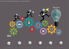 Διανυσματικοί επιχειρηματίες στην πορεία της επιτυχίας και της νίκης στον ανταγωνισμό με το εμπόριο Σπασμωδική κίνηση στην οδήγησ ελεύθερη απεικόνιση δικαιώματος