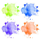 Διανυσματικοί ζωηρόχρωμοι λεκέδες watercolor καθορισμένοι Στοκ Φωτογραφία
