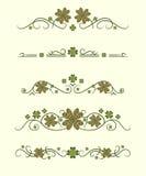 Διανυσματικοί διαιρέτες κειμένων με το τυχερό τριφύλλι απεικόνιση αποθεμάτων