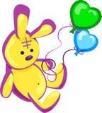 Διανυσματικοί, κίτρινοι λαγοί απεικόνισης, γενέθλια, παιχνίδι, διακοπές, δώρο, μπαλόνια, διασκέδαση διανυσματική απεικόνιση