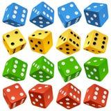 Διανυσματικοί κόκκινος, κίτρινος, πράσινος και το μπλε χωρίζει σε τετράγωνα το σύνολο απεικόνιση αποθεμάτων