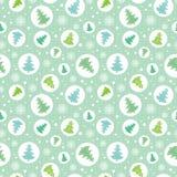 Διανυσματικοί κύκλοι με τα πράσινα, μπλε χριστουγεννιάτικα δέντρα στο άνευ ραφής σχέδιο διακοπών κύκλων ornamemtns Μεγάλος για το Στοκ Φωτογραφία