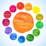 Διανυσματικοί κύκλοι Watercolor Στοκ εικόνα με δικαίωμα ελεύθερης χρήσης