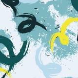 Διανυσματικοί λεκέδες κρητιδογραφιών grunge στα μπλε κίτρινα χρώματα Κυματιστό δυναμικό minimalistic σχέδιο Φυσικό αφηρημένο κτύπ Στοκ φωτογραφίες με δικαίωμα ελεύθερης χρήσης