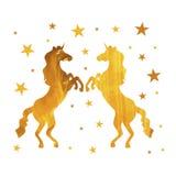 Διανυσματικοί μονόκεροι, χρυσή ζωγραφική Isoalted στο άσπρο υπόβαθρο με τα αστέρια ελεύθερη απεικόνιση δικαιώματος