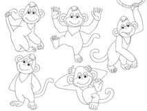 Διανυσματικοί πίθηκοι καθορισμένοι Στοκ Φωτογραφίες