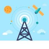 Διανυσματικοί πύργος και δορυφόρος κεραιών διανυσματική απεικόνιση