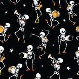Διανυσματικοί σκοτεινοί μαύρος χορεύοντας και καλύπτοντας σκελετοί μουσικής Στοκ Φωτογραφία