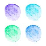 Διανυσματικοί στρογγυλοί λεκέδες watercolor καθορισμένοι Στοκ Φωτογραφίες
