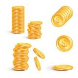Διανυσματικοί σωροί απεικόνισης των χρυσών νομισμάτων που απομονώνονται σε ένα λευκό Στοκ φωτογραφία με δικαίωμα ελεύθερης χρήσης