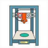 Διανυσματικοί τρισδιάστατοι βιο-εκτυπωτές με το ανθρώπινο κεφάλι ελεύθερη απεικόνιση δικαιώματος