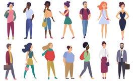 Διανυσματικοί τυποποιημένοι ενήλικοι άνθρωποι χαρακτήρων καθορισμένοι Ομάδα αρσενικών και θηλυκών επίπεδων χαρακτηρών κινουμένων  διανυσματική απεικόνιση