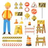 Διανυσματικοί φραγμοί προειδοποίησης και οδοφραγμάτων οδών κυκλοφορίας οδικών σημαδιών στο σύνολο απεικόνισης χαρακτήρα εθνικών ο διανυσματική απεικόνιση