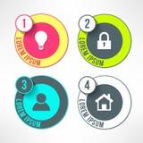 Διανυσματικοί φωτεινοί infographic κύκλοι που τίθενται σε σύγχρονο ελεύθερη απεικόνιση δικαιώματος