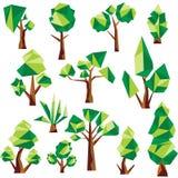 Διανυσματικοί χαμηλοί πολυ δέντρα και κάκτος Στοκ Εικόνα