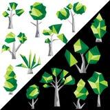 Διανυσματικοί χαμηλοί πολυ δέντρα και κάκτος Στοκ Εικόνες