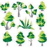 Διανυσματικοί χαμηλοί πολυ δέντρα και κάκτος Στοκ Φωτογραφίες