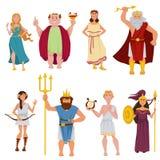 Διανυσματικοί χαρακτήρες κινουμένων σχεδίων Θεών αρχαίου Έλληνα απεικόνιση αποθεμάτων