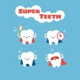 Διανυσματικοί χαρακτήρες δοντιών παιδιών Superhero χαμογελώντας διανυσματική απεικόνιση