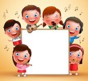 Διανυσματικοί χαρακτήρες παιδιών που παίζουν τα μουσικά όργανα και που τραγουδούν με το κενό λευκό διανυσματική απεικόνιση