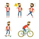 Διανυσματικοί χαρακτήρες: hipster τύπος που κάνει μερικές δραστηριότητες Στοκ φωτογραφία με δικαίωμα ελεύθερης χρήσης