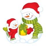 Διανυσματικοί χαριτωμένοι χιονάνθρωποι στα κόκκινα καπέλα και το κιβώτιο δώρων απεικόνιση αποθεμάτων