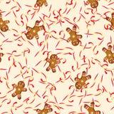 Διανυσματικοί simless μελόψωμο μπισκότων και κάλαμος καραμελών Στοκ φωτογραφίες με δικαίωμα ελεύθερης χρήσης