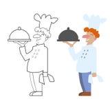 Διανυσματικός άβαφος και έγχρωμος μάγειρας αρχιμαγείρων Παιχνίδι, χρωματίζοντας σελίδα βιβλίων για τα παιδιά Στοκ Φωτογραφία