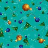 Διανυσματικός άνευ ραφής με τα χριστουγεννιάτικα δέντρα και τις σφαίρες Χριστουγέννων Στοκ Φωτογραφίες