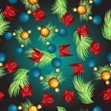 Διανυσματικός άνευ ραφής με τους κλάδους έλατου και τις σφαίρες Χριστουγέννων Στοκ εικόνα με δικαίωμα ελεύθερης χρήσης