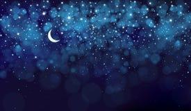 Διανυσματικός έναστρος ουρανός νύχτας διανυσματική απεικόνιση