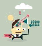 Διανυσματικός έξοχος επιχειρηματίας που προγραμματίζει τη μεγάλη ιδέα για την οργάνωση Διανυσματική απεικόνιση