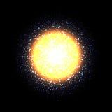 Διανυσματικός ήλιος στο μαύρο υπόβαθρο Φωτεινό πορτοκαλί φως Πορτοκαλί αστέρι, κοσμικό στοιχείο abstract background space Στοκ φωτογραφία με δικαίωμα ελεύθερης χρήσης