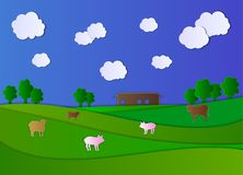 Διανυσματικός αγροτικός τομέας ύφους τέχνης εγγράφου κινούμενων σχεδίων, αγροτικό σπίτι και ζώα, νεφελώδης ουρανός ελεύθερη απεικόνιση δικαιώματος