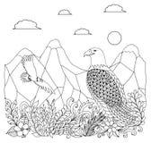 Διανυσματικός αετός Zentangle απεικόνισης στα βουνά με τα λουλούδια Χρωματίζοντας βιβλίο, αντιαγχωτικό για τους ενηλίκους Μαύρο λ Στοκ Εικόνες