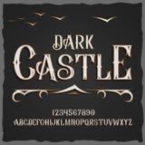 Διανυσματικός αναδρομικός χαρακτήρας Διανυσματική πηγή το σκοτεινό Castle απεικόνιση αποθεμάτων