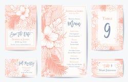 Διανυσματικός αναδρομικός Floral εξωτικός τροπικός γάμος εκτός από την ημερομηνία, σύνολο καρτών επιλογών Δείτε το χαρτοφυλάκιο γ ελεύθερη απεικόνιση δικαιώματος
