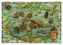 Διανυσματικός αρχαίος καραϊβικός χάρτης θάλασσας με τα σκάφη και τα νησιά πειρατών ελεύθερη απεικόνιση δικαιώματος