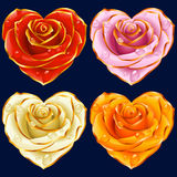Διανυσματικός αυξήθηκε σύνολο καρδιών Κόκκινα, κίτρινα, ρόδινα και άσπρα λουλούδια απεικόνιση αποθεμάτων